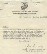 <p>Military orders of Eva Davidson, United States Marine Corps</p><p>New York, New York, October 10, 1918        </p><p>National Museum of American Jewish History, 1992.126.7</p><p>Gift of Judge Murray C. Goldman in memory of his cousin Eva Davidson Radbill</p><br /><span></span>