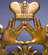 <p>Hands of Priestly Benediction, Congregation Shaarei  Eli,</p><p>Philadelphia, Pennsylvania, ca. 1918</p><p>Carved and painted wood</p><p>National Museum of American Jewish History, 1984.59.3 b</p><p>Gift of Congregation Shaare Eli</p><br /><span></span>