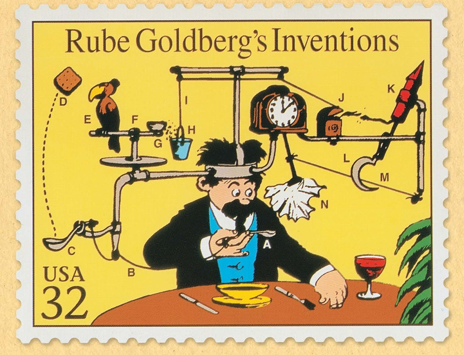 Rube Goldberg Inventions USPS stamp
